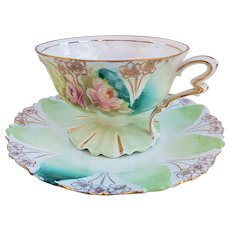 """Gorgeous RS Prussia Vintage 1900's """"Pink Roses"""" Pedestal Floral Cup & Saucer"""
