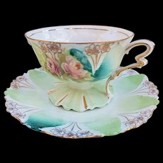 "Gorgeous RS Prussia Vintage 1900's ""Pink Roses"" Pedestal Floral Cup & Saucer"