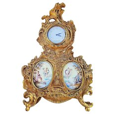 """Fabulous Vintage France Pre-1900 Hand Painted Brass Ornate Clock with Scenic """"Putti Porcelain"""" Inserts"""