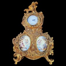 "Fabulous Vintage France Pre-1900 Hand Painted Brass Ornate Clock with Scenic ""Putti Porcelain"" Inserts"