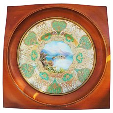 """Spectacular Royal Doulton 1922 Hand Painted """"Isle of Giulio"""" 13"""" Scenic Plate in Custom Walnut Frame by Artist """"J. Price"""""""