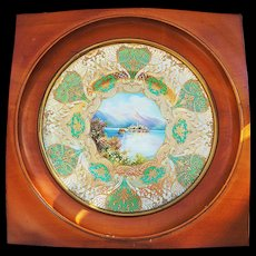 "Spectacular Royal Doulton 1922 Hand Painted ""Isle of Giulio"" 13"" Scenic Plate in Custom Walnut Frame by Artist ""J. Price"""