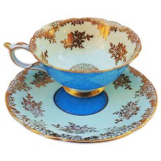 """Paragon Vintage 1930's Hand Painted """"Sea Blue"""" With Heavy Gilded Gold Stenciling Tea Cup & Saucer"""