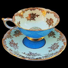 "Paragon Vintage 1930's Hand Painted ""Sea Blue"" With Heavy Gilded Gold Stenciling Tea Cup & Saucer"