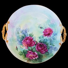 "Beautiful Limoges France 1900's Hand Painted Vibrant ""Deep Red Roses"" Large 11-3/4"" Floral Plate by Artist, ""A.R.H."""