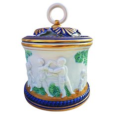 """Beautiful Italian Capodimonte 1900's With Blown Out """"Frolicking Cherubs"""" 6-1/4"""" Figural Biscuit Jar"""