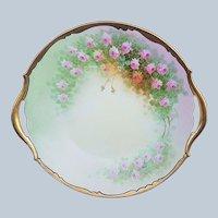 "T & V Limoges & Osborne Studio of Chicago 1914 Hand Painted ""Petite Pink Roses"" 10-1/2"" Floral Plate by ""Asbjorn Osborne"""