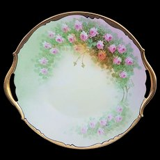 "T & V Limoges & Osborne Studio of Chicago 1914 Hand Painted ""Petite Pink Roses"" 10-1/2"" Floral Plate by ""Asbjorn Osborne"""