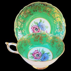 "Beautiful Paragon 1900's Hand Painted ""Wild Flowers"" With Heavy Gilded Gold Stenciling Tea Cup & Saucer"