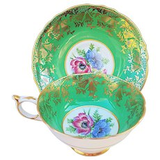 """Beautiful Paragon 1900's Hand Painted """"Wild Flowers"""" With Heavy Gilded Gold Stenciling Tea Cup & Saucer"""