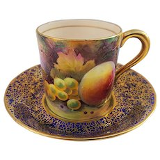 """Exquisite Paragon 1920-30's Hand Painted """"Peach, Apple, Grapes, & Blackberries"""" Fruit Decor Cup & Saucer by Artist, """"A. Holland"""""""