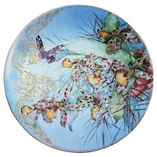 """Spectacular MR France Limoges Vintage 1893 Hand Painted """"Butterfly & Water Floral"""" 9-3/8"""" Heavy Gilded & Beaded Floral Plate by Artist, """"S. Philips"""""""