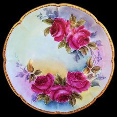 "Gorgeous Vintage William Guerin Limoges France 1900's Hand Painted ""Deep Red Roses"" 9"" Floral Plate"