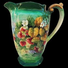 """Beautiful Bavaria 1900's Hand Painted Vibrant """"Strawberries"""" 8"""" Water Pitcher by the Artist, """"Rosewood"""""""