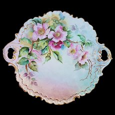 """Exquisite Vintage Rosenthal Bavaria 1900's Hand Painted """"Wild Red & Pink Roses"""" Fancy Scallop 10-1/4"""" Floral Plate"""