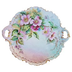"Exquisite Vintage Rosenthal Bavaria 1900's Hand Painted ""Wild Red & Pink Roses"" Fancy Scallop 10-1/4"" Floral Plate"