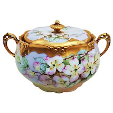 "Gorgeous H & Co. Bavaria 1920's Hand Painted ""Veronica Whitewater Flowers"" 8-1/4"" Floral Cracker Jar by Chicago Artist, ""Kimmel"""