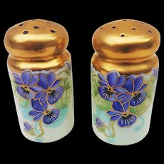 "Vintage Early 1900's Hand Painted Vibrant ""Violets"" Floral Salt & Pepper Shakers by J.H. Stouffer Artist, ""Joseph Simek"""