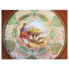 "Spectacular Royal Doulton 1922 Hand Painted ""Lake Como"" 13"" Scenic Plate in Custom Walnut Frame by Artist ""J. Price"""