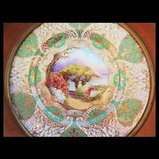 """Spectacular Royal Doulton 1922 Hand Painted """"Lake Como"""" 13"""" Scenic Plate in Custom Walnut Frame by Artist """"J. Price"""""""