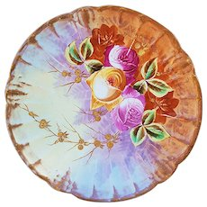 "Beautiful Vintage Blake & Henderson Limoges France 1900 Hand Painted ""Red, Pink, & Yellow Roses"" Floral Plate"