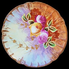 """Beautiful Vintage Blake & Henderson Limoges France 1900 Hand Painted """"Red, Pink, & Yellow Roses"""" Floral Plate"""