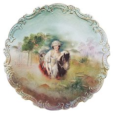 "Beautiful Vintage Royal Bayrueth 1900's Hand Painted ""Lady With the Horse"" 9-1/2"" Fancy Scallop Tapestry Scenic Plate"