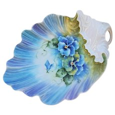"""Eye Popping Gorgeous Bavaria 1900's Hand Painted """"Violets"""" 7-3/4"""" Scallop & Crimped Floral Nappy by Artist, """"C. Homan"""""""