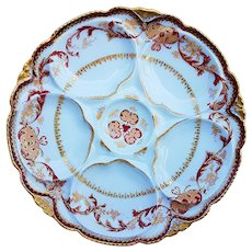 Stunning Theodore Haviland Limoges France 1900 Hand Painted Ornate Red & Gold Oyster Plate