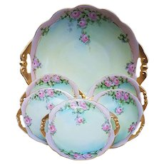 """Beautiful & Dainty MZ Austria & Bavaria Vintage 1914 Hand Painted """"Petite Pink Roses"""" 6-Pc Floral Bowl & Berry Set by Listed Artist, """"A. Leigh"""""""