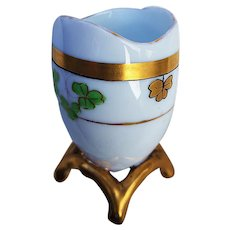 "Charming Pickard Studio of Chicago 1918 Hand Painted ""3-Leaf Clover"" Footed Toothpick Holder"