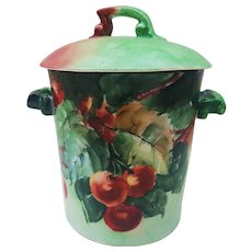 "Impressive T & V Limoges France 1900's Hand Painted ""Cherries"" Fruit Decor Milk Condenser"