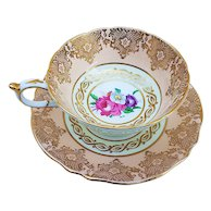 """Gorgeous Paragon 1930's Hand Painted """"Wild Flowers"""" With Heavy Gilded Gold Stenciling Tea Cup & Saucer"""