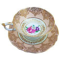 "Gorgeous Paragon 1930's Hand Painted ""Wild Flowers"" With Heavy Gilded Gold Stenciling Tea Cup & Saucer"