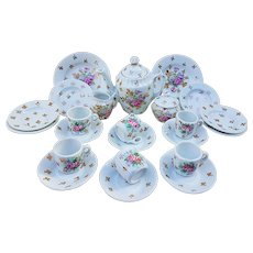 "Spectacular & Scarce RS Prussia 1900's ""Bowl of Flowers"" 25 Pc Child's Floral Tea Set"