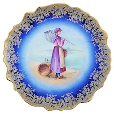 "Beautiful Vintage B & R Limoges France 1900's Hand Painted ""Dutch Woman Clamming On the Beach"" 8-1/2"" Scenic Plate by Artist, ""Armanto"""