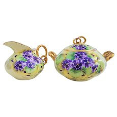 "Fabulous Vintage GDA Limoges France 1900's Hand Painted ""Deep Purple Violets"" Floral Sugar & Creamer by the Artist, ""A. Berger"""