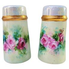 "Beautiful Favorite Bavaria 1900's Hand Painted ""Red & Pink Roses"" Floral Salt & Pepper Shakers"
