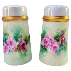 "Beautiful Favorite Bavaria 1900's Hand Painted ""Red & Pink Roses"" Floral Salt & Pepper Shakers"