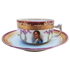 """Fabulous Germany 1900's """"Napoleon & Chain of Roses"""" Scenic & Floral Demitasse Cup & Saucer"""