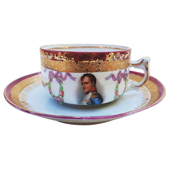 "Fabulous Germany 1900's ""Napoleon & Chain of Roses"" Scenic & Floral Demitasse Cup & Saucer"