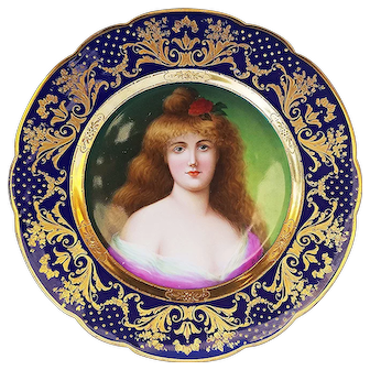 "Breathtaking Royal Vienna 1900's Hand Painted ""Portrait of Juno"" 8-3/4"" Portrait Plate by the Artist, ""Enilsele"""