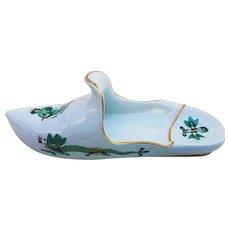 "Meissen Outstanding & Scarce Decor Pre-1900 Hand Painted ""Green Dragon"" 7"" Scenic Shoe"