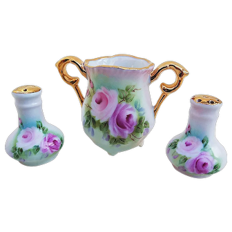 "Gorgeous Bavaria 1900's Hand Painted ""Red & Pink Roses"" 3-Pc Floral Condiment Set by the Artist, ""G. Wirball"""