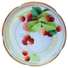 "Beautiful & Delicate J.C. Bavaria & Pickard Studio of Chicago 1905 Hand Painted ""Strawberry"" 8-5/8"" Plate by the Artist, ""Edward Gibson"""