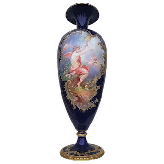 "Spectacular 21-1/4"" William Guerin Limoges Museum Quality 1900 Hand Painted ""Maiden Teasing Cupid"" Vintage Cobalt Blue Scenic Vase"