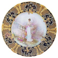 "Magnificent Haviland & Co. 1900's Hand Painted ""The Flower Maiden Floréal"" 9-1/4"" Scenic & Portrait Plate by the French Artist, ""J. Soustre"""