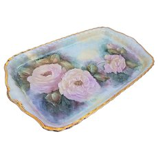 """Gorgeous 1900's Hand Painted Soft """"Pink Roses"""" 12"""" Floral Tray by Artist, """"Doris Elston"""""""