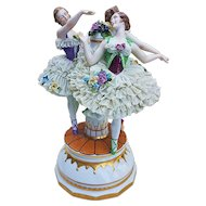 """Spectacular Vintage Thuringia Dresden Germany 1900's """"3 Dancing Ballerinas Around the Maypole"""" 10-1/2"""" Porcelain Lace Figurine"""