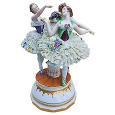 "Spectacular Vintage Thuringia Dresden Germany 1900's ""3 Dancing Ballerinas Around the Maypole"" 10-1/2"" Porcelain Lace Figurine"